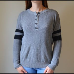 American Eagle Gray varsity stripe sweater XS